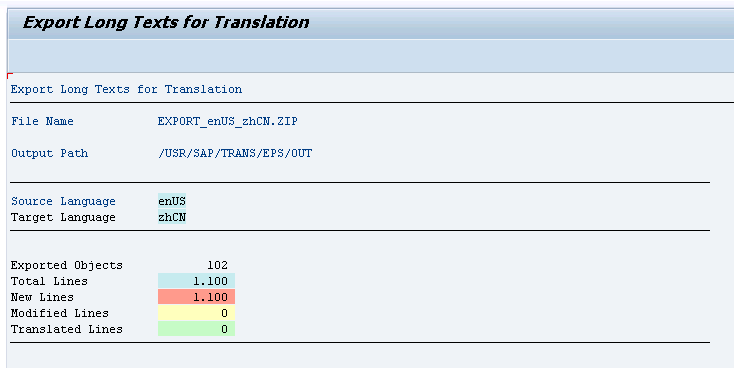 tf-lt shows export results using the same logic as the SAP standard translation statistics.