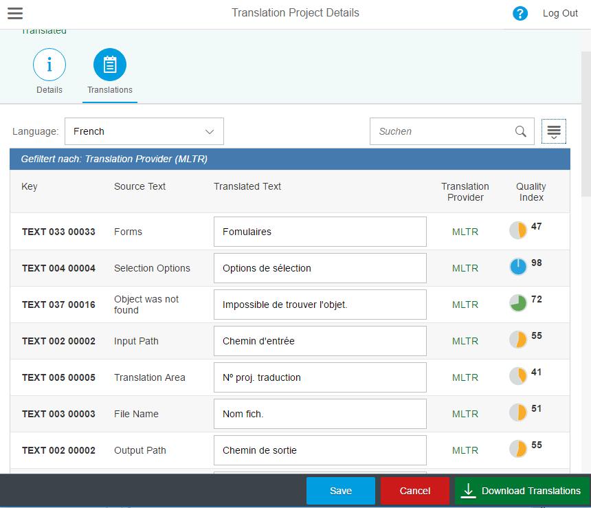 Der Qualitätsindex von SAP Translation Hub ist ein guter Anhaltspunkt.