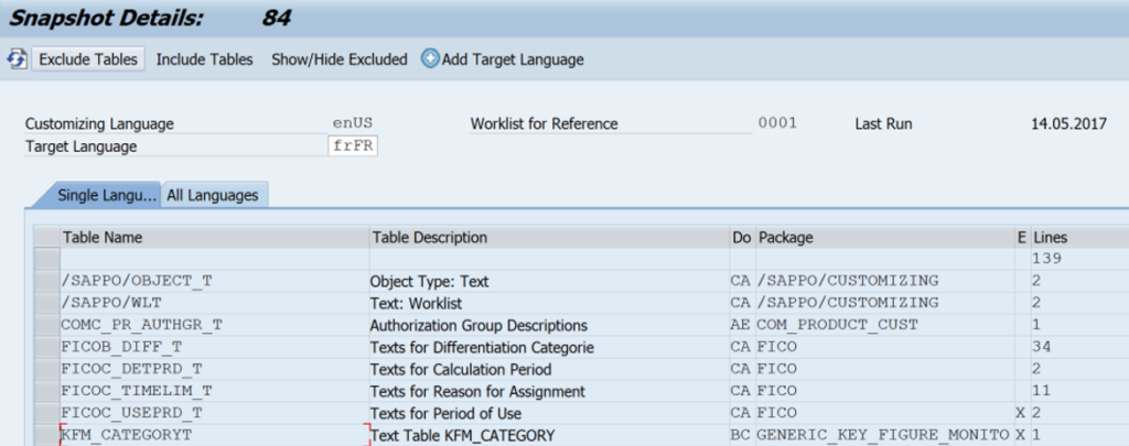 Excluding customizing tables from translation