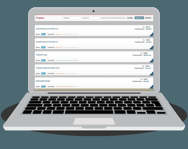 text&form Kundenportal - Projekte