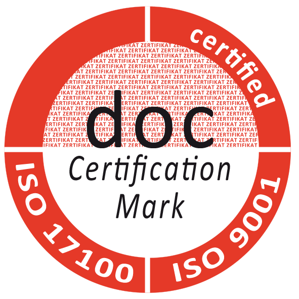 DIN EN ISO 17100:2016 and DIN EN ISO 9001:2015 certification