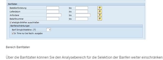 Banfdaten - BANF SAP