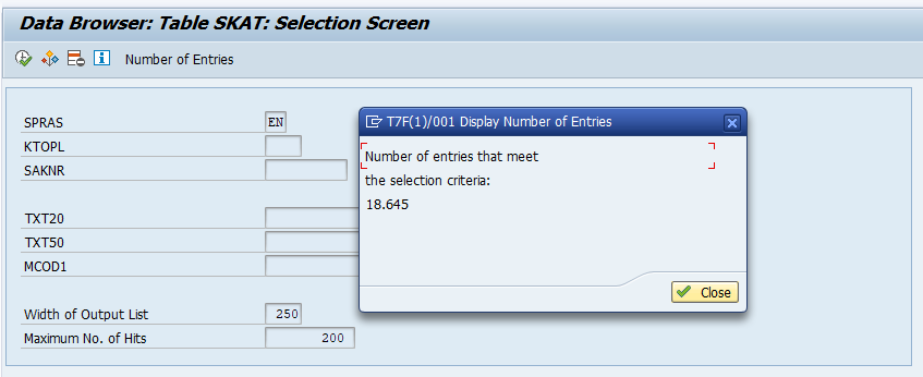 Data Browser Table SKAT selection screen
