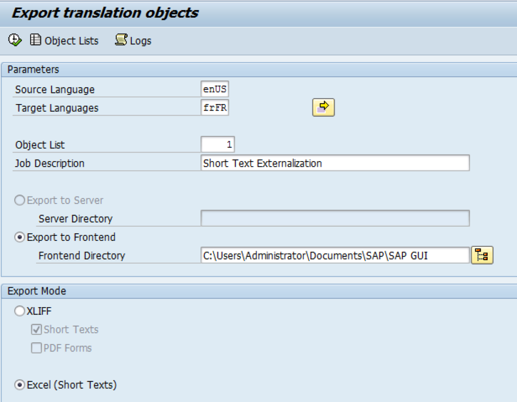 The start screen of SAP's externalization tool.